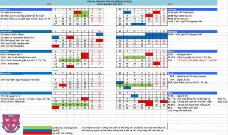 Thông báo lịch Tiểu học năm học 2018 – 2019