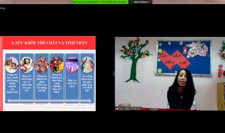 Giảng viên Phan Thị Hồ Điệp chia sẻ kinh nghiệm chuẩn bị hành trang cho con vào lớp 1 trong buổi hội thảo trực tuyến