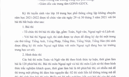 Sở GD&ĐT Hà Nội thông báo các môn thi vào lớp 10 THPT công lập năm học 2021 – 2022